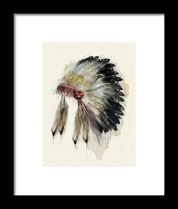Native Headdress Framed Print featuring the painting The Native Headdress by Bri Buckley