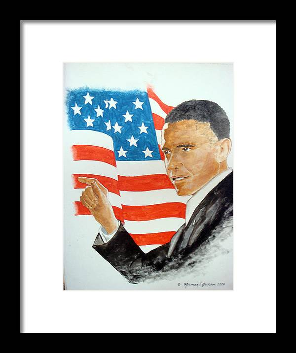 Obama Framed Print featuring the painting The New America by Norman F Jackson