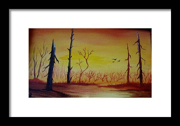 Landscape Framed Print featuring the painting The New Beginning by Glory Fraulein Wolfe
