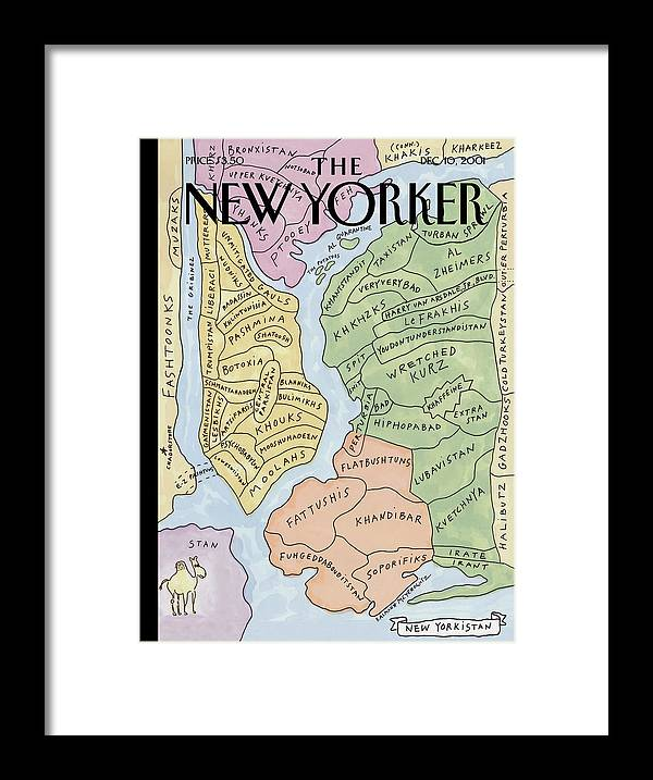 New Yorkistan Framed Print featuring the painting New Yorkistan by Maira Kalman and Rick Meyerowitz
