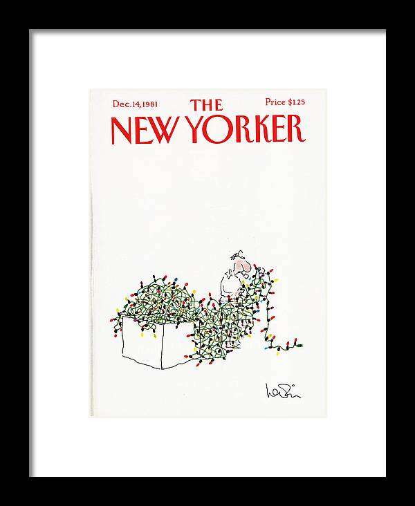 Holiday Framed Print featuring the painting The New Yorker Cover - December 14th, 1981 by Arnie Levin