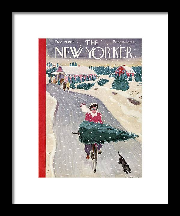 Holidays Framed Print featuring the painting New Yorker December 19, 1942 by Garrett Price