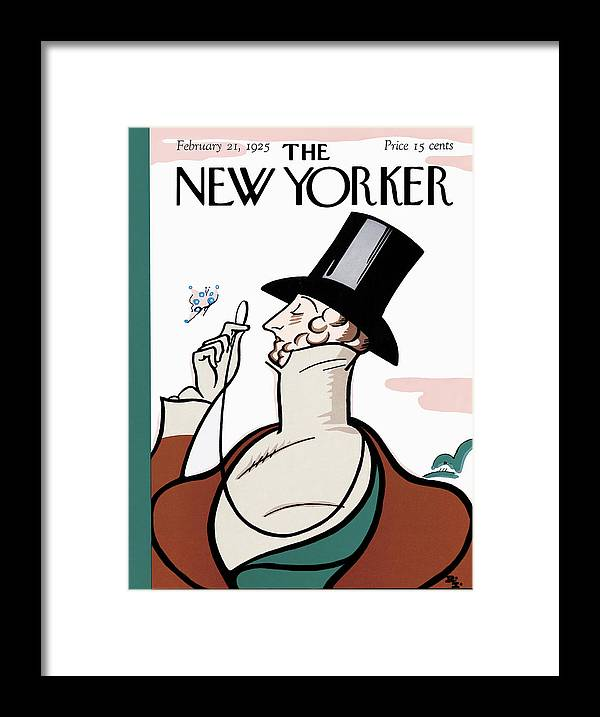 Logo Framed Print featuring the painting New Yorker February 21st, 1925 by Rea Irvin