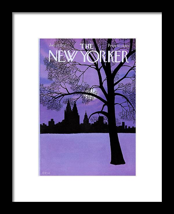 Color Framed Print featuring the painting The New Yorker Cover - January 22nd, 1972 by Charles E Martin