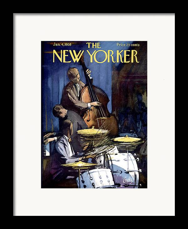 Concert Framed Print featuring the photograph The New Yorker Cover - January 4th, 1958 by Arthur Getz