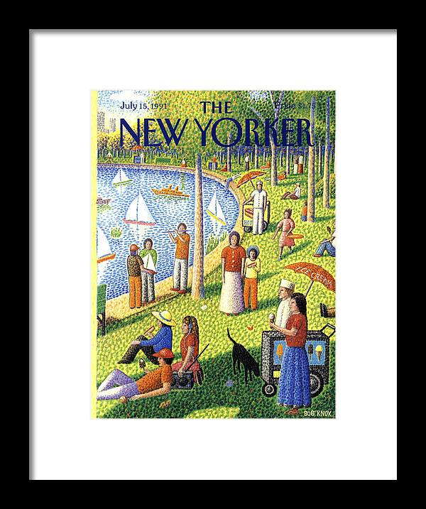 La Grande Jatte Framed Print featuring the painting The New Yorker July 15th, 1991 by Bob Knox