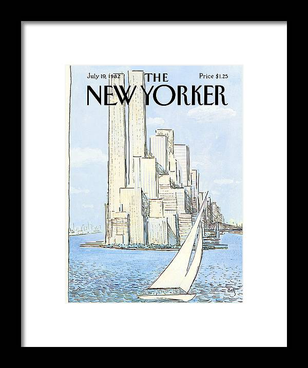 Regional Framed Print featuring the painting New Yorker July 19th, 1982 by Arthur Getz