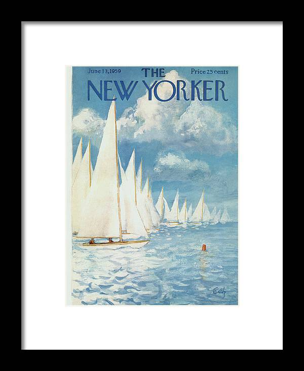 Arthur Framed Print featuring the painting New Yorker Cover - June 13th, 1959 by Arthur Getz