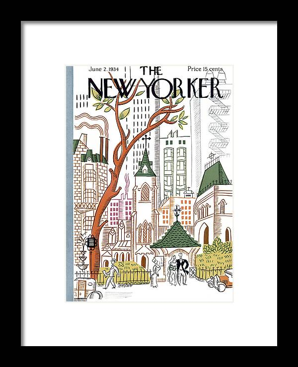 City Framed Print featuring the photograph The New Yorker Cover - June 2nd, 1934 by Harry Brown