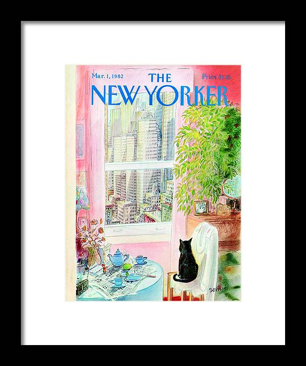 Apartment Framed Print featuring the painting New Yorker March 1, 1982 by Jean-Jacques Sempe
