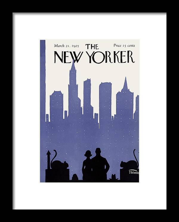 Skyline Framed Print featuring the painting New Yorker March 21st, 1925 by Carl Fornaro