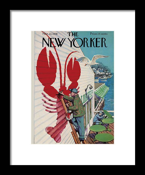 Food Framed Print featuring the photograph The New Yorker Cover - March 22, 1958 by Arthur Getz