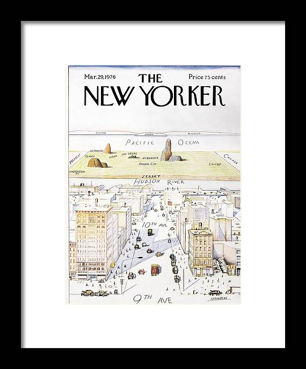 c7bf0d340 New Yorker March 29, 1976 Framed Print by Saul Steinberg