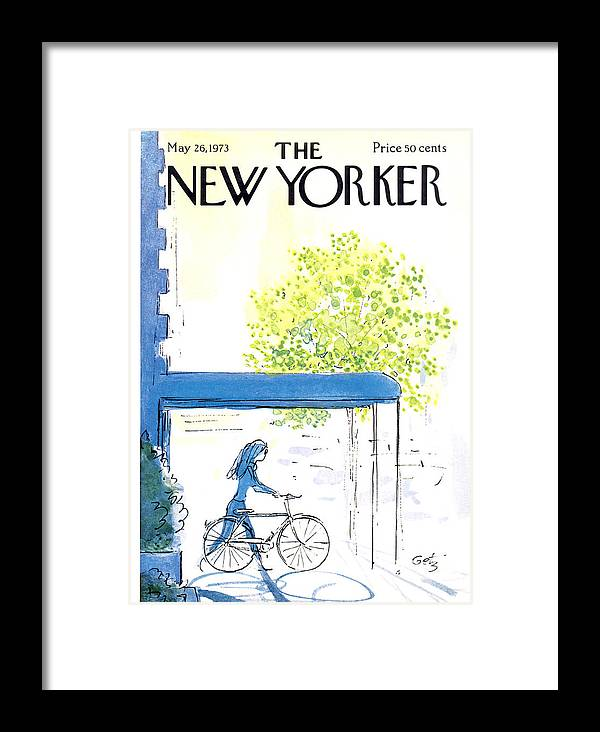 Bicycle Framed Print featuring the painting The New Yorker Cover - May 26th, 1973 by Arthur Getz