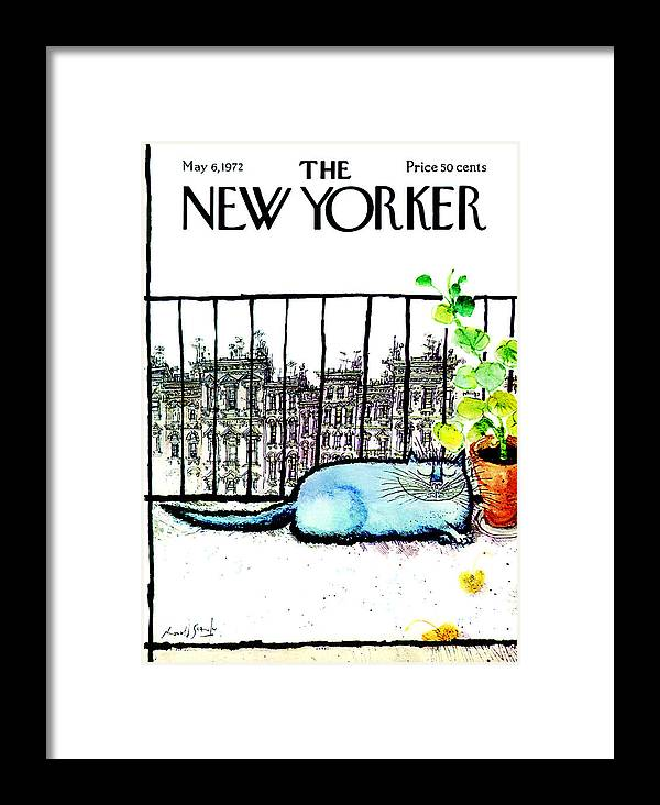 Animals Framed Print featuring the painting The New Yorker Cover - May 6th, 1972 by Ronald Searle