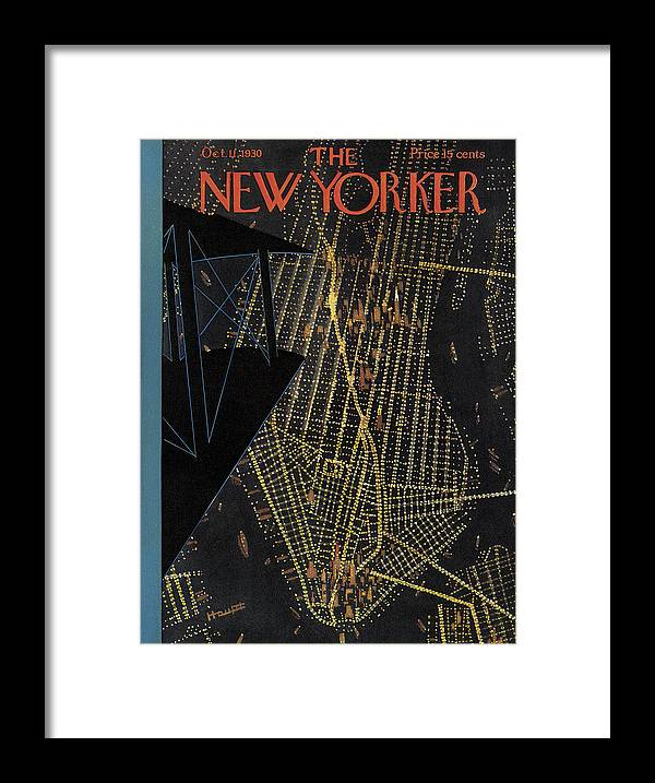 Nyc Framed Print featuring the painting New Yorker October 11th, 1930 by Theodore G Haupt