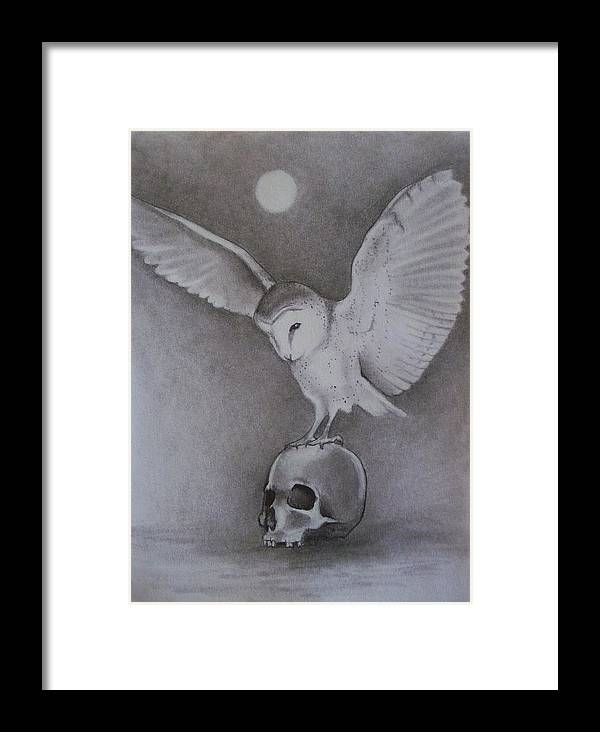 Owl Framed Print featuring the drawing The Night Flier by Amber Stanford