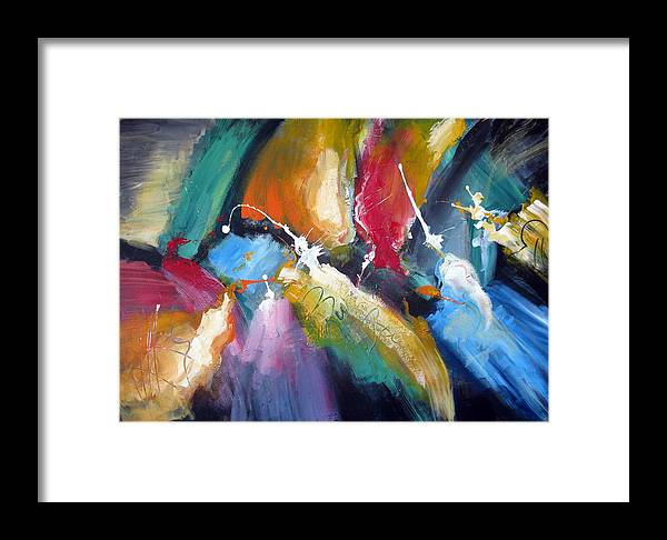 Abstract Colorfull Energetic Modern Contemporary Enlightening Framed Print featuring the painting The Night Queen by Dan Bunea