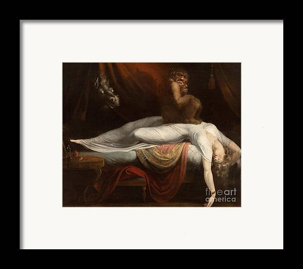 The Framed Print featuring the painting The Nightmare by Henry Fuseli