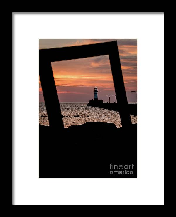 Lake Framed Print featuring the photograph The North Pier Lighthouse by Deborah Klubertanz