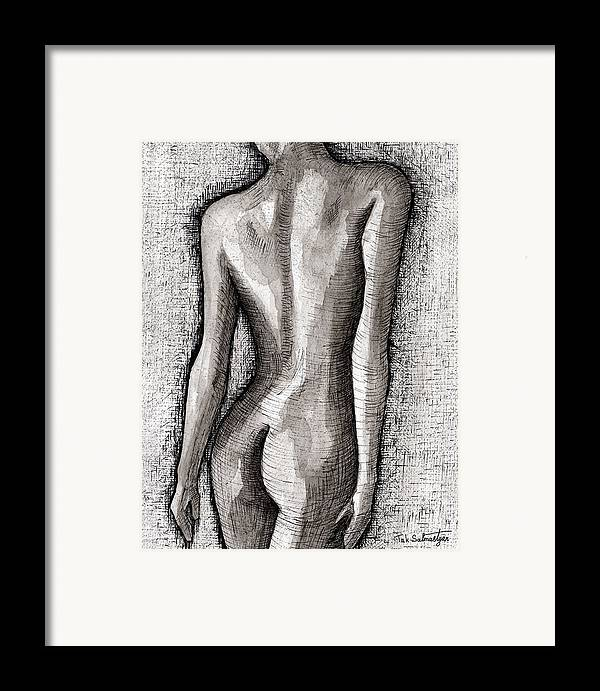 Pop Art Framed Print featuring the painting The Nude Number One by Tak Salmastyan
