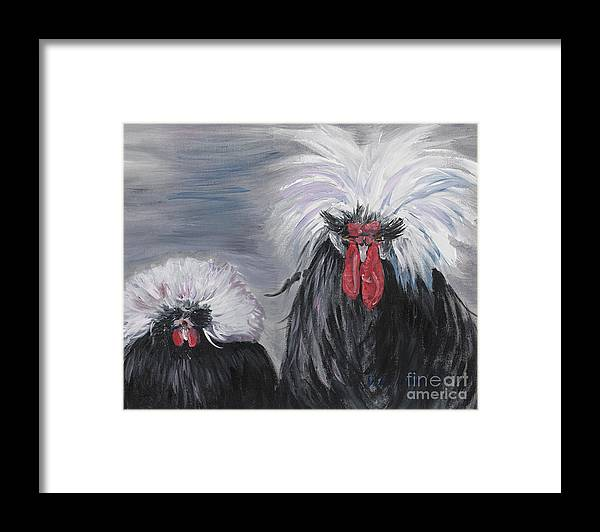 Odd Chickens With Wild Hair Framed Print featuring the painting The Odd Couple by Nadine Rippelmeyer