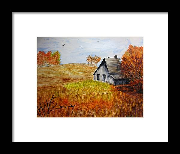 Landscape Framed Print featuring the painting The Old Barn by Maris Sherwood