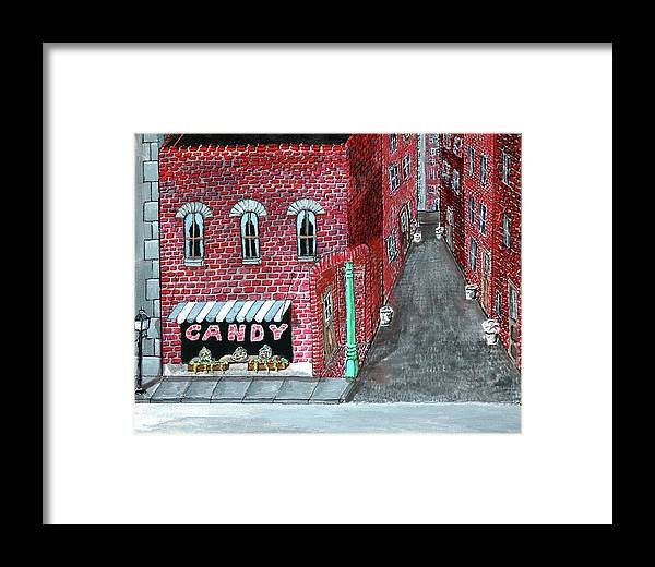 Brick Framed Print featuring the painting The Old Brick Candy Store by Gordon Wendling