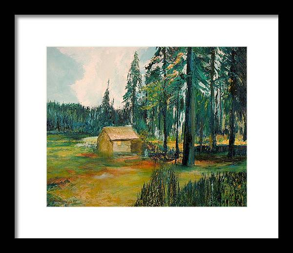 Cabin Framed Print featuring the painting The Old Cabin by Richard Beauregard