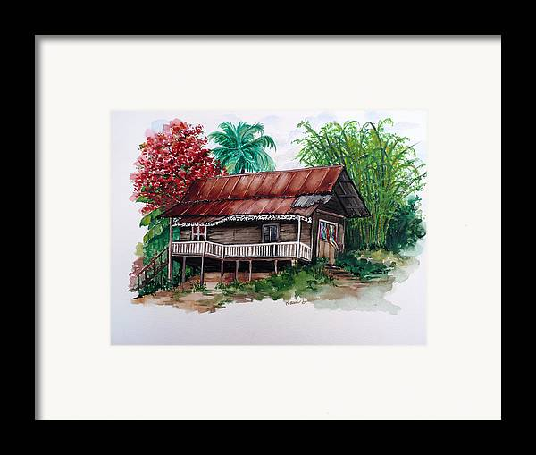 Tropical Painting Poincianna Painting Caribbean Painting Old House Painting Cocoa House Painting Trinidad And Tobago Painting  Tropical Painting Flamboyant Painting Poinciana Red Greeting Card Painting Framed Print featuring the painting The Old Cocoa House by Karin Dawn Kelshall- Best