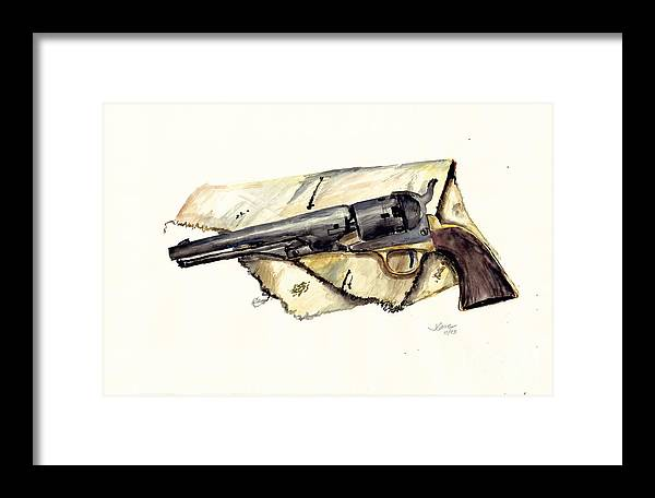 Watercolor Framed Print featuring the painting The Old Colt by Jerry Cave