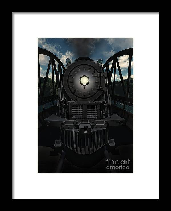 Trains Framed Print featuring the digital art The Old Iron Bridge by Richard Rizzo