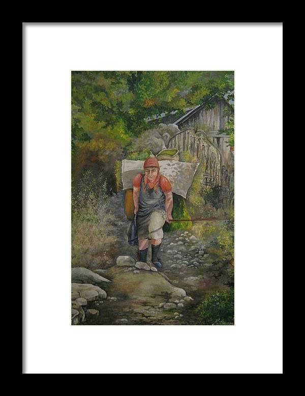 Grandmother Framed Print featuring the painting The Old Lady by Netka Dimoska