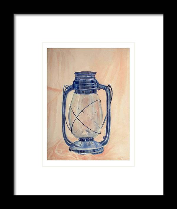 Lantern Framed Print featuring the painting The Old Lantern by Asha Sudhaker Shenoy