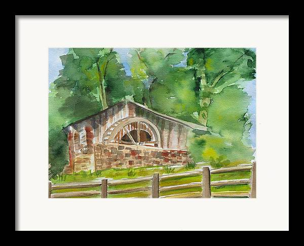 Landscape Framed Print featuring the painting The Old Mill by Kathy Mitchell