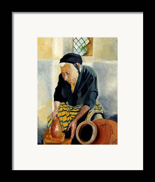 Old People Framed Print featuring the painting The Old Potter by Jane Simpson