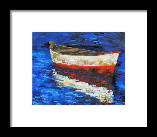 Boat Framed Print featuring the painting The Old Red Boat II by Torrie Smiley