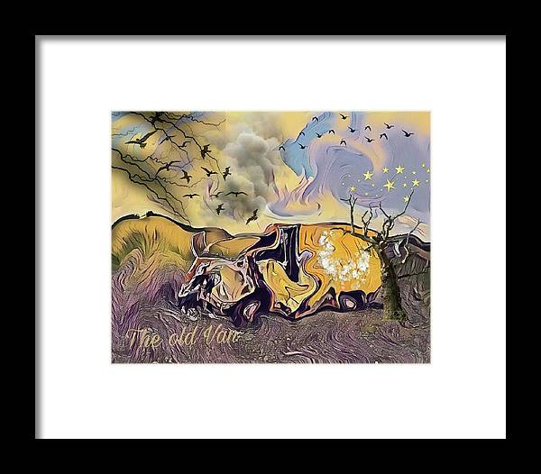 Yellow Car Framed Print featuring the mixed media The Old Van by Susanne Baumann