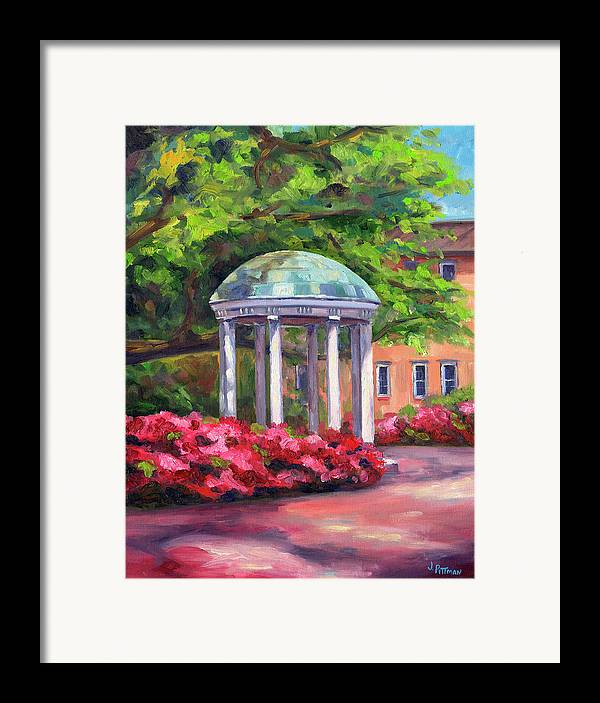 University Of North Carolina At Chapel Hill Framed Print featuring the painting The Old Well Unc by Jeff Pittman