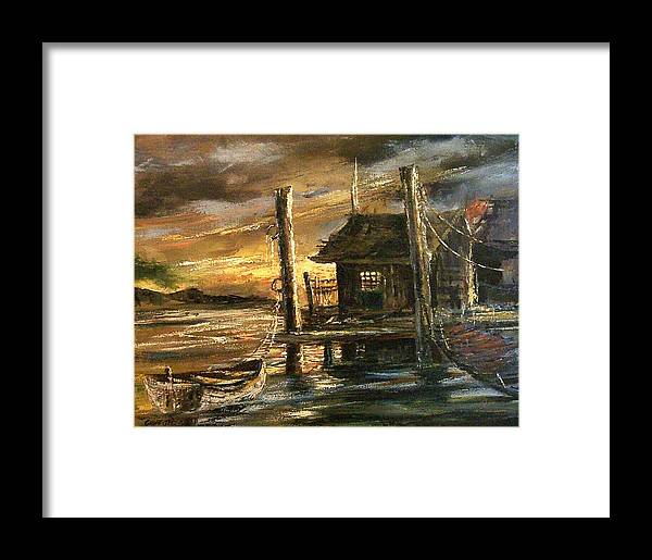 Seascape Framed Print featuring the painting The Old Wharf by Don Griffiths
