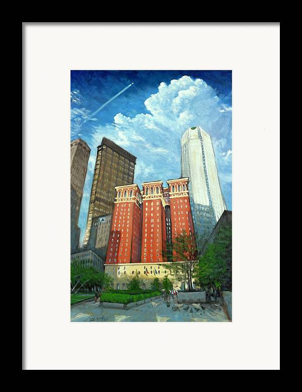 Cityscape Framed Print featuring the painting The Omni William Penn Hotel by Erik Schutzman