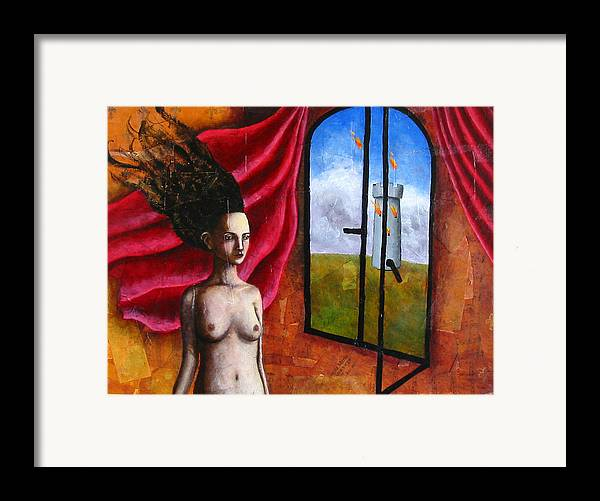 Figure Framed Print featuring the painting The Onset Of Calamity by Pauline Lim