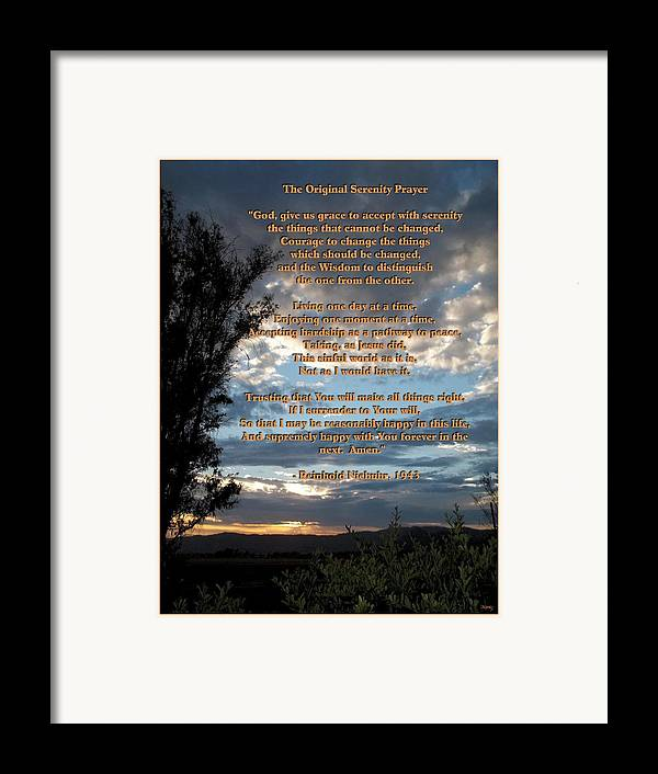 Mccarthy Art Framed Print featuring the photograph The Original Serenity Prayer by Glenn McCarthy Art and Photography