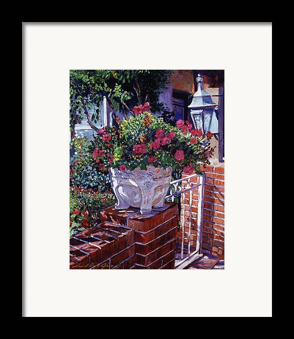 Flowers Framed Print featuring the painting The Ornamental Floral Gate by David Lloyd Glover