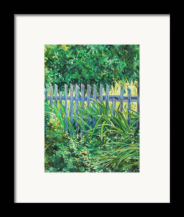 Fence Framed Print featuring the painting The Other Side by Karen Doyle