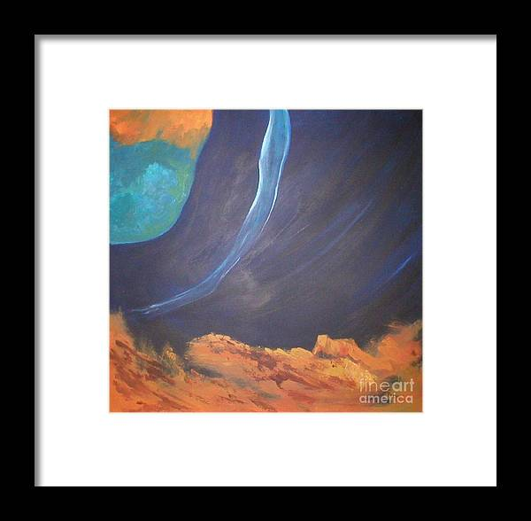 Space Framed Print featuring the painting The Other Side by Rhonda Myers
