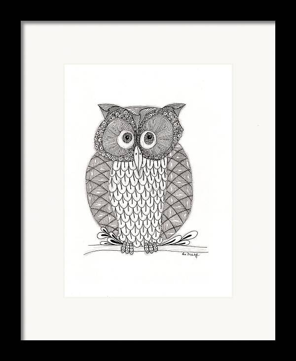 Owl Framed Print featuring the drawing The Owl's Who by Paula Dickerhoff