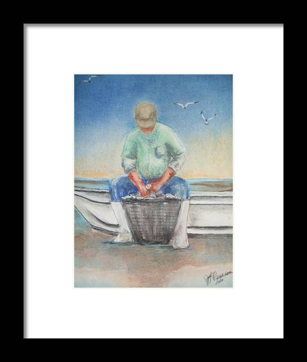 Water Framed Print featuring the pastel The Oysterman by Judy Pearson