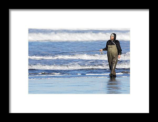 People Framed Print featuring the photograph The Pacific Angler In Its Natural Habitat -- Fisherman In Morro Bay, California by Darin Volpe