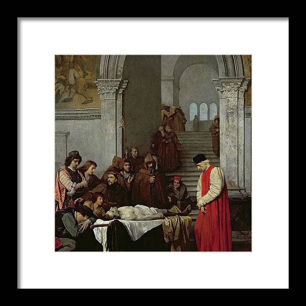Monk Framed Print featuring the painting The Painter Luca Signorelli Standing By The Body Of His Rival's Dead Son by Ferdinand Heilbuth